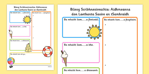 Summer Holiday Hopes Write Up Worksheet Gaeilge - seasons, writing sheet