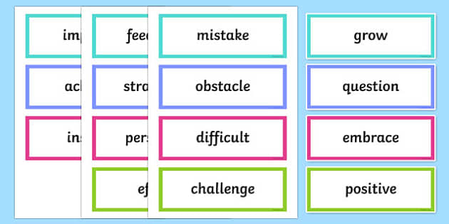 Growth Mindset Upper School Vocabulary Word Cards- Australia
