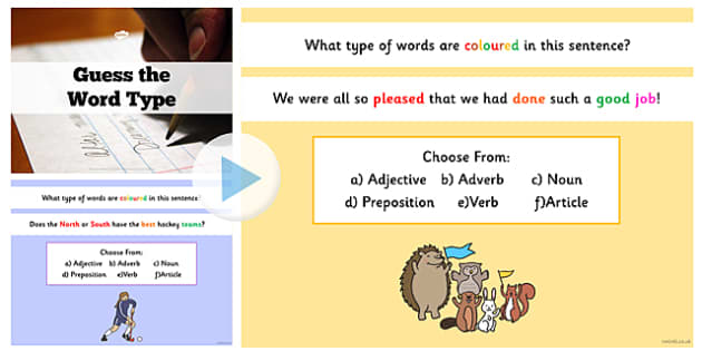 Guess the Word Type Sentence Challenge PowerPoint - word, type