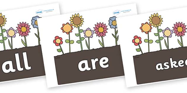 Tricky Words on Garden Flowers - Tricky words, DfES Letters and Sounds, Letters and sounds, display, words