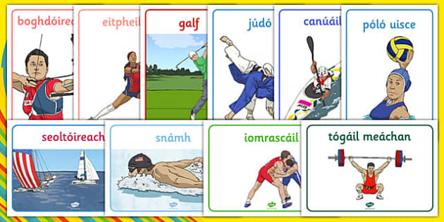 Rio 2016 Olympics Sport Posters Gaeilge - Olympics, Olympic Games, sports, Olympic, London, 2012, display, banner, poster, sign, Olympic torch, flag, countries, medal, Olympic Rings, mascots, flame, compete, tennis, athlete, swimming, race