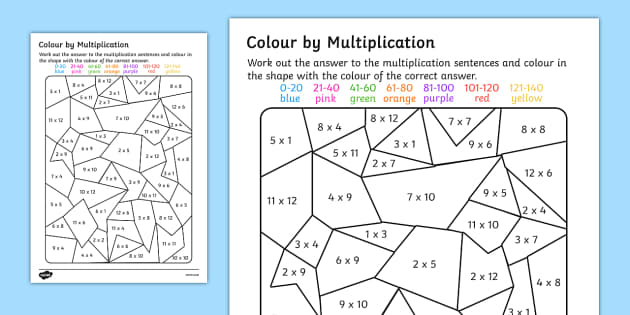 Colour by Multiplication to 12x12 Activity Worksheet - colour, multiplication, activity, worksheet