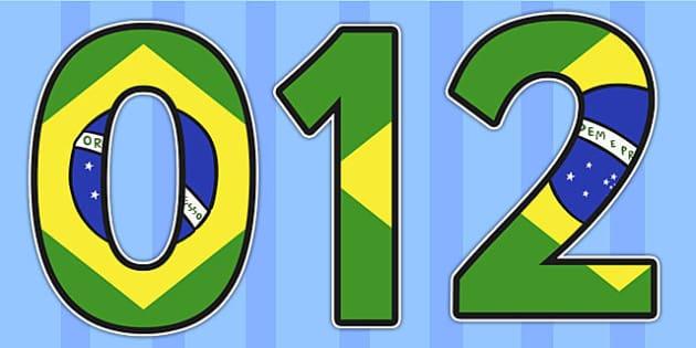 Brazilian Flag Display Numbers - world cup, football, brazil
