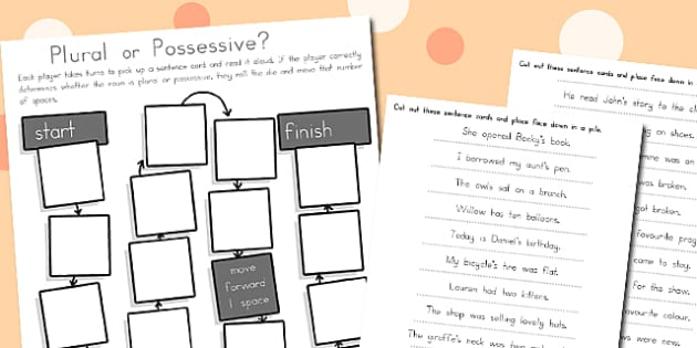 Possessive and Plural Noun Game - nouns, literacy, activity