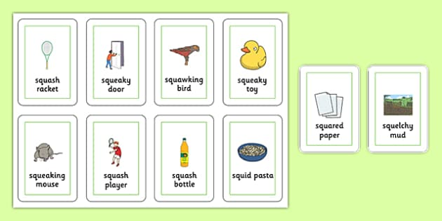 Three Syllable SQU Flash Cards - speech sounds, phonology, articulation, speech therapy, cluster reduction, complex clusters, three element clusters