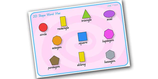 2D Shape Word Mat - 2D, shapes, 2D shapes, word mat, keywords