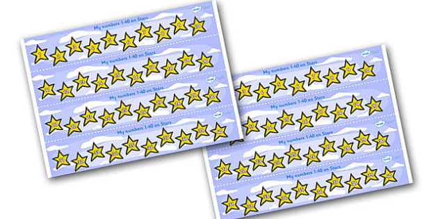 1-40 on Stars Number Strips - Maths, Math, number track, star, Numberline, Number line, Counting on, Counting back, counting, space