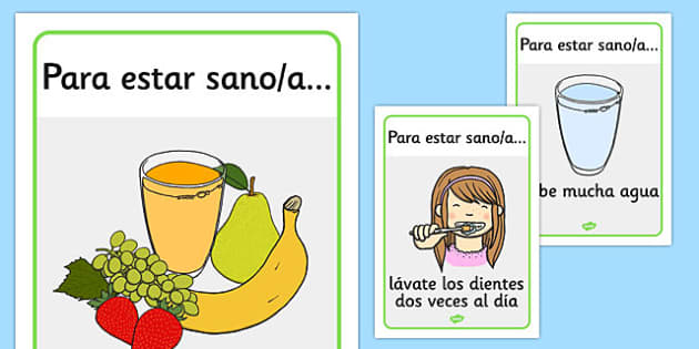 Health and Hygiene Display Posters Spanish - spanish, Good health, hygiene, behaviour management, eat fruit, walk to school, vegetables, exercise, brush teeth, wash hands, drink water