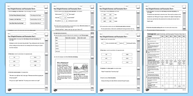 Year 3 English Grammar and Punctuation Practice Test Pack - test