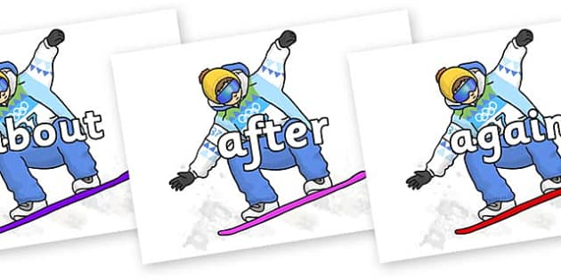 KS1 Keywords on Snowboarding - KS1, CLL, Communication language and literacy, Display, Key words, high frequency words, foundation stage literacy, DfES Letters and Sounds, Letters and Sounds, spelling
