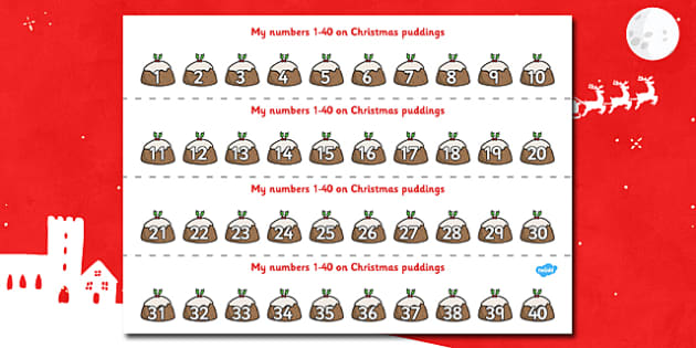 1-40 on Christmas Puddings Number Strips - xmas, Christmas,  Maths, Math, number track,  Numberline, Number line, Counting on, Counting back, counting, space