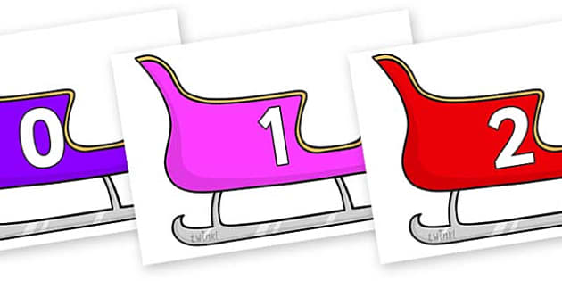 Numbers 0-100 on Christmas Sleighs (Multicolour) - 0-100, foundation stage numeracy, Number recognition, Number flashcards, counting, number frieze, Display numbers, number posters