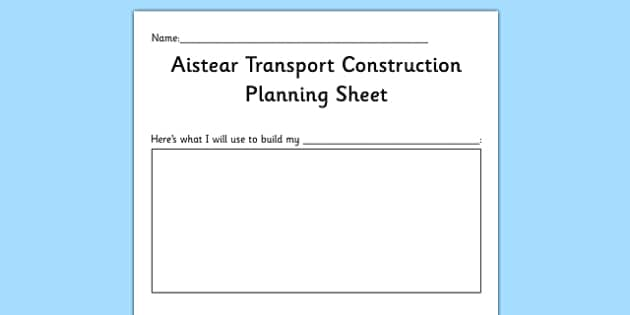 Aistear Transport Construction Planning Sheet - roi, republic of ireland, gaeilge, aistear, transport, construction, irish, eire, early years