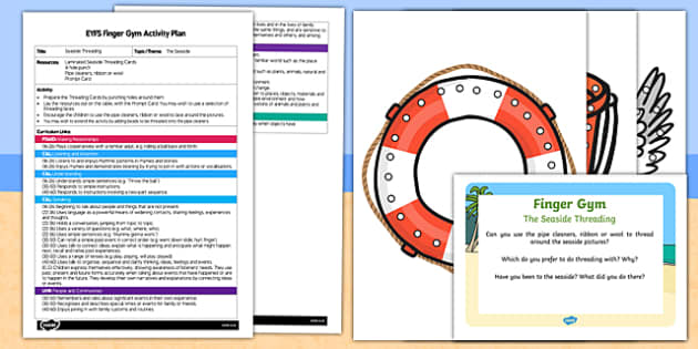 EYFS The Seaside Threading Finger Gym Plan and Resource Pack
