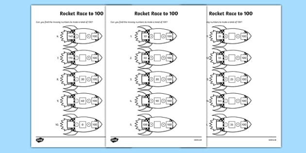 Rocket Race to 100 Activity Sheet, worksheet
