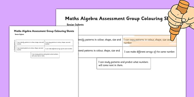 1999 Curriculum Senior Infants Maths Algebra Assessment Group Colouring Sheet - roi, irish, gaeilge, assessment checklist, maths, senior infants, algebra