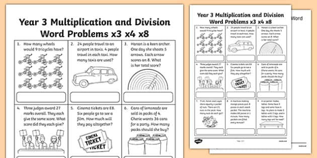 Year 3 Multiplication and Division Word Problems x3 x4 x8 – Division Word Problem Worksheets