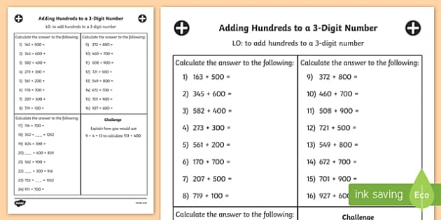 Hundreds to a 3 Digit Number Worksheet Year 3 - adding