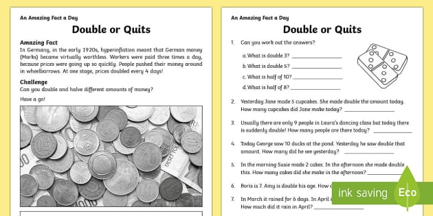 Double or Quits Activity Sheet