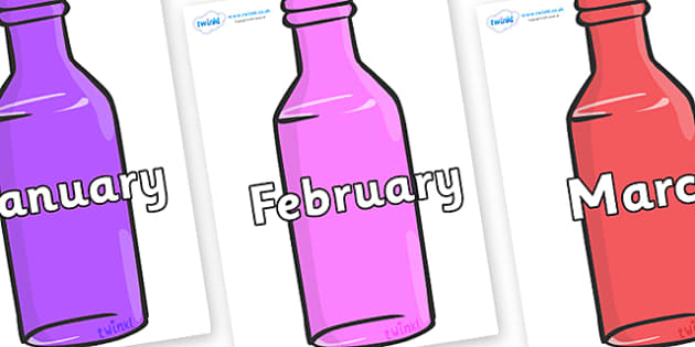 Months of the Year on Bottles - Months of the Year, Months poster, Months display, display, poster, frieze, Months, month, January, February, March, April, May, June, July, August, September