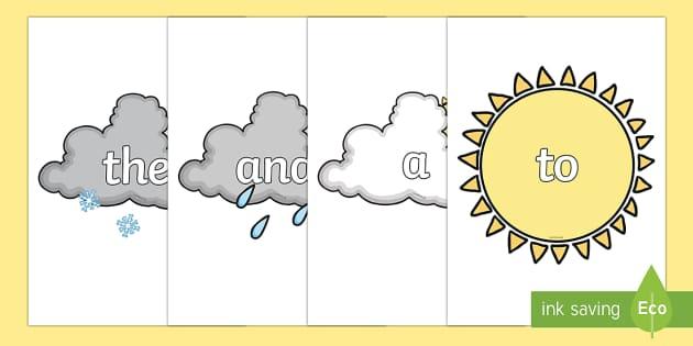 100 High Frequency Words on Weather Symbols - High frequency words, hfw, Weather, DfES Letters and Sounds, Letters and Sounds, weather, weather display, fog, seasons, sun, cloud, rain, snow, hail, display