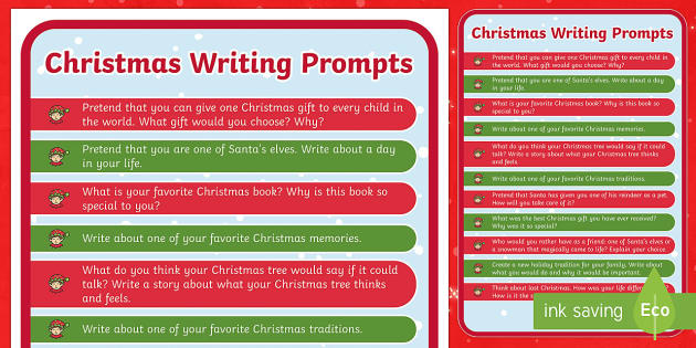 Christmas Writing Prompts - Christmas USA, writing, prompt, christmas, story starters
