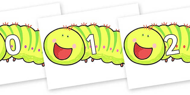 Numbers 0-31 on Crunching Munching Caterpillar to Support Teaching on The Crunching Munching Caterpillar - 0-31, foundation stage numeracy, Number recognition, Number flashcards, counting, number frieze, Display numbers, number posters