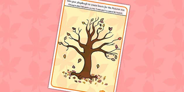 Autumn Tree Playdough Mat Romanian Translation - romanian, autumn
