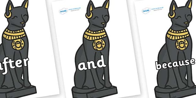 Connectives on Egyptian Cats - Connectives, VCOP, connective resources, connectives display words, connective displays