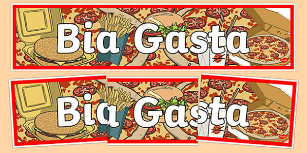 Bia Food Display Banner Bia Gasta - bia, food, irish, gaeilge, display, banners, food types