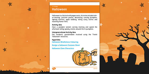 Elderly Care Calendar Planning October 2016 Halloween - Elderly Care, Calendar Planning, Care Homes, Activity Co-ordinators, Support, October 2016