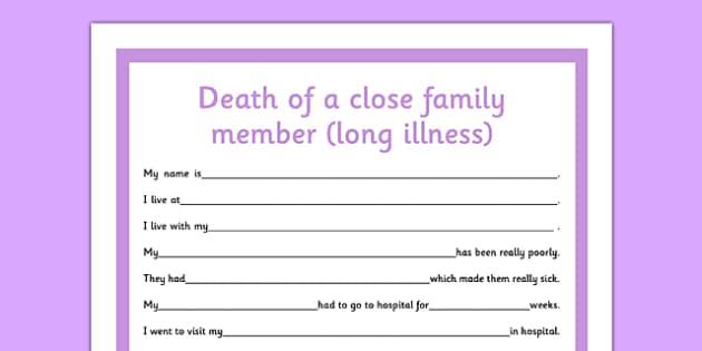 Social Story Sheet Death of a Close Family Member Long Illness - social story, death, family member, long illness