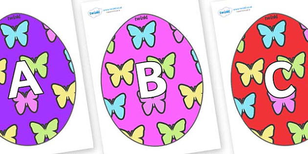 A-Z Alphabet on Easter Eggs (Butterflies) - A-Z, A4, display, Alphabet frieze, Display letters, Letter posters, A-Z letters, Alphabet flashcards