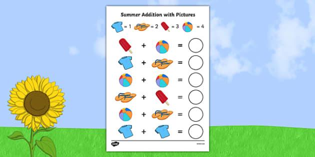 Summer Themed Addition with Pictures Activity Sheet Pack - summer, addition, pictures, activity, sheet, worksheet