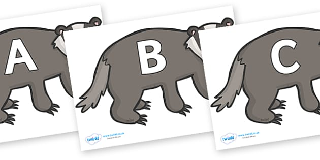 A-Z Alphabet on Badgers - A-Z, A4, display, Alphabet frieze, Display letters, Letter posters, A-Z letters, Alphabet flashcards