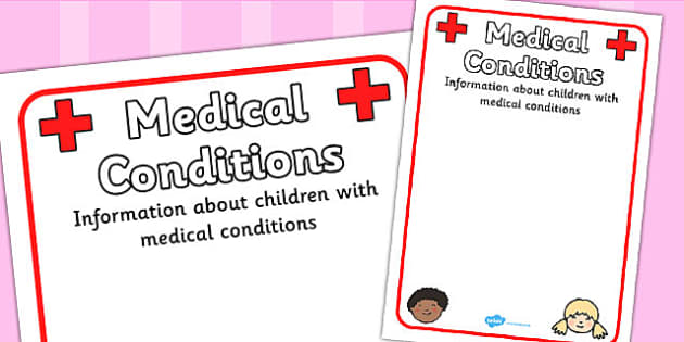 Pupil Medical Conditions Information Poster - medical, medical conditions, pupil, medical conditions information, allergies, pupil information, pupils, poster, sign, sheet, display