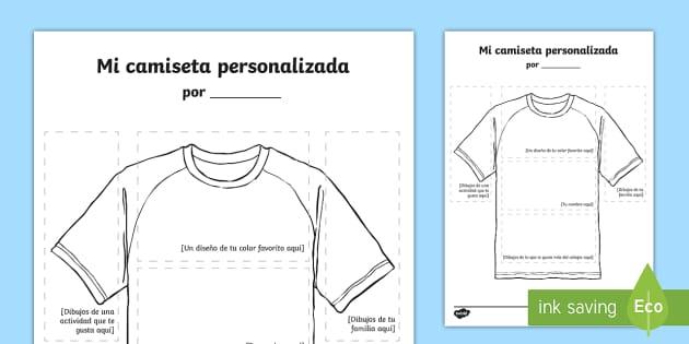 Ficha de actividad Mi camiseta personalizada - camiseta, diseñar, personalizada