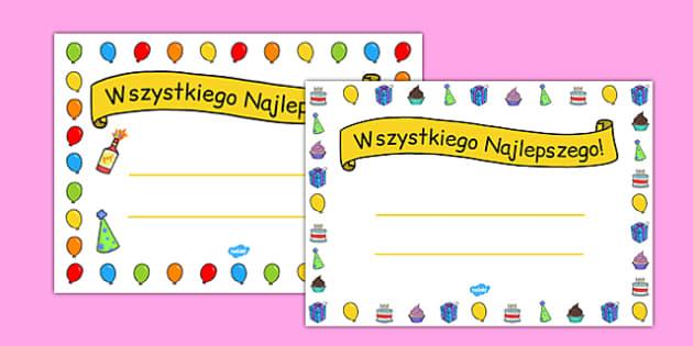 Certyfikat urodzinowy po polsku - 100 lat, święto