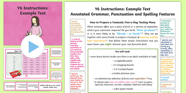 Y6 Instructions Model/Example Text - Example Texts Y6, instruction, genre, features, SPaG, WAGOLL, checklist, exemplification, exemplar, ARE, age-related example, model, model text, age-related model