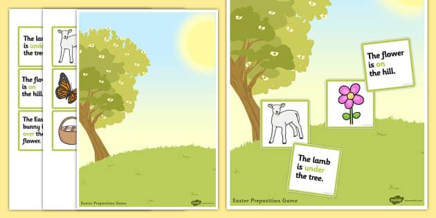 Easter Preposition Game - easter, preposition, game, 2xa4