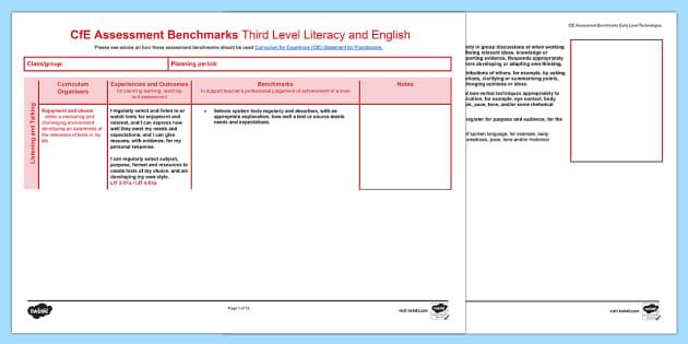 CfE Benchmarks Third Level Literacy and English Assessment Tracker-Scottish