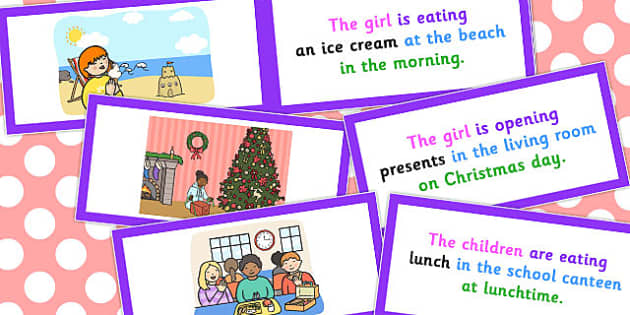 Picture Description Cards Who What Doing To What Where When