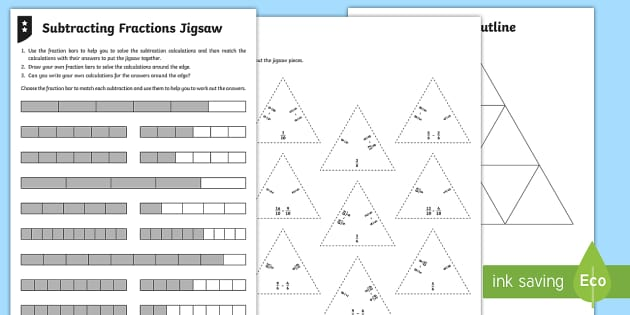 Subtracting Fractions Jigsaw Differentiated Activity Sheets - Fractions, subtracting, subtraction, take away, taking away, calculation, calculate, fraction, denom
