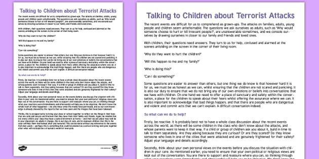 How to Talk to Children About Terrorist Attacks - how, talk, children, terrorist, attacks, extremism,