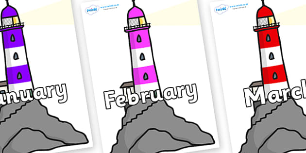 Months of the Year on Lighthouses - Months of the Year, Months poster, Months display, display, poster, frieze, Months, month, January, February, March, April, May, June, July, August, September