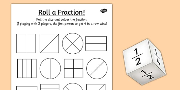 Year 1 Roll a Fraction Activity Sheet activities fractions – Fractions Worksheets Ks1