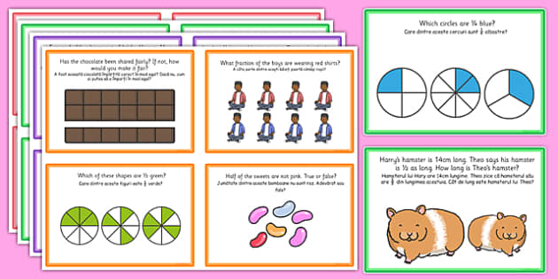 Fractions Challenge Cards Romanian Translation - romanian, fractions, challenge, cards, activity