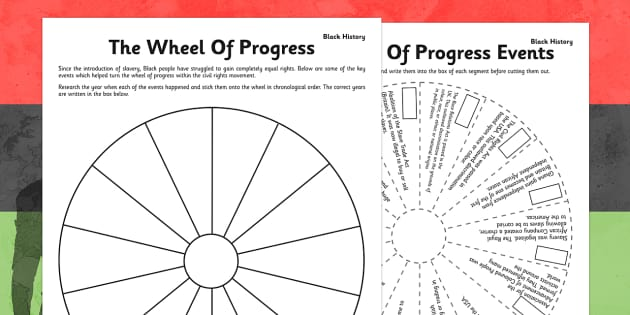 The Wheel of Progress in Black History Activity Sheet - wheel, progress, black history, worksheet
