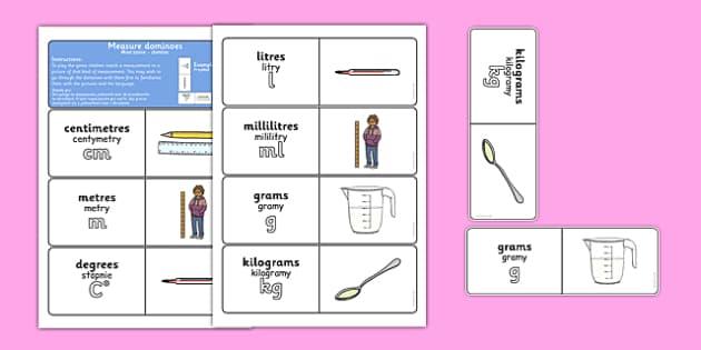 Measure Dominoes Polish Translation - Polish, Poland, EAL,  bilingual, measure, measurement, measuring, ssm, shape, space, maths, mathematics, game, activity, domino, grams, kilograms, g, kg, centimetres