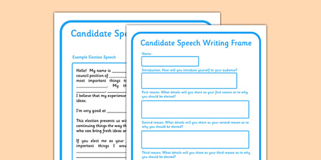 School Council Election Candidate Speech Writing Frame - school council, election, candidate, speech